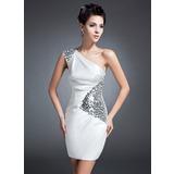 Tubo Um ombro Curto/Mini Charmeuse Vestido para a mãe da noiva com Pregueado Lantejoulas (008015096)