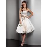 Vestidos princesa/ Formato A Coração Coquetel Cetim Vestido de noiva com Cintos Curvado (002001379)