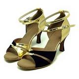 Mulheres Couro Nubuck Saltos Sandálias Latino com Correia de Calcanhar Sapatos de dança (053013373)