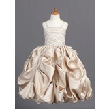 Ball Gown Floor-length Flower Girl Dress - Satin Sleeveless Straps With Embroidered/Beading/Pick Up Skirt (010007808)
