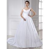 Платье для Балла V-образный Церковный шлейф Атлас Свадебные Платье с Вышито Рябь (002015466)