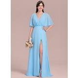 Corte A Decote V Longos Tecido de seda Vestido de madrinha com Curvado Frente aberta (007126426)