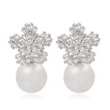 Snowflakes Shaped Pearl/Zircon/Platinum Plated Ladies' Earrings (011057440)