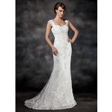 Trompete/Sereia Coração Cauda de sereia Tule Vestido de noiva com Bordado Apliques de Renda (002017413)