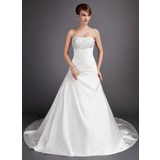 Ball-Gown Sweetheart Chapel Train Satin Wedding Dress With Ruffle Lace Beading (002012055)