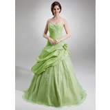 Ball-Gown Sweetheart Floor-Length Taffeta Organza Quinceanera Dress With Ruffle Appliques Lace Flower(s) (021004727)