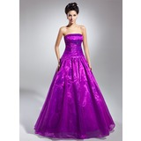 Платье для Балла Без лямок Длина до пола Органза Пышное платье с Рябь (021015131)