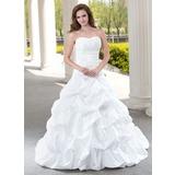 De baile Coração Cauda longa Tafetá Vestido de noiva com Pregueado Bordado Apliques de Renda (002012223)
