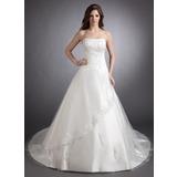 Платье для Балла В виде сердца Церковный шлейф Атлас Свадебные Платье с кружева Бисер (002011511)