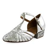 Mulheres Crianças Couro Espumante Glitter Saltos Salão de Baile com Correia -T Sapatos de dança (053013188)