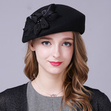 Ladies' Eye-catching/Fancy/High Quality/Romantic/Vintage Wool With Flower Beret Hat (196154741)