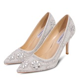 Women's Microfiber Leather Stiletto Heel Closed Toe Pumps With Stitching Lace Crystal Pearl (047190333)