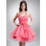 Vestidos princesa/ Formato A Cabresto Curto/Mini Organza de Vestido de boas vindas com Pregueado Bordado fecho de correr (022021050)