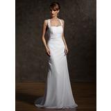 Tubo Cabresto Cauda de sereia De chiffon Vestido de noiva com Pregueado Bordado Apliques de Renda (002011507)