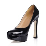 Patent Leather Chunky Heel Pumps Plateau Closed Toe schoenen (085020559)