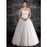 De baile Sem Alças Longos Organza de Vestido de noiva com Pregueado Bordado Apliques de Renda (002016939)