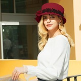 Ladies' Gorgeous/Classic/Elegant Wool With Tulle Bowler/Cloche Hats/Kentucky Derby Hats/Tea Party Hats (196196114)
