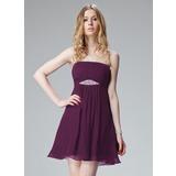 Vestidos princesa/ Formato A Sem Alças Curto/Mini De chiffon Vestido de Férias com Pregueado Bordado (020013081)