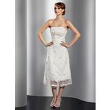 Трапеция/Принцесса Без лямок Длина ниже колен кружева Коктейльные Платье с Бисер (016014741)