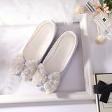 Girl's Closed Toe Mesh Flat Heel Flats Flower Girl Shoes With Flower (207186306)