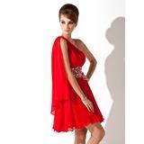 Vestidos princesa/ Formato A Um ombro Curto/Mini De chiffon Vestido de boas vindas com Pregueado Bordado (022008985)