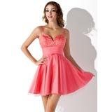 Vestidos princesa/ Formato A Coração Curto/Mini Tule Vestido de boas vindas com Bordado Lantejoulas (022020626)