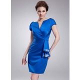 Платье-чехол V-образный Длина до колен Атлас Коктейльные Платье с Рябь Бисер (016021234)