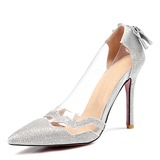 Mulheres Couro PVC Salto agulha Bombas Fechados com Bowknot Lantejoulas sapatos (085204245)