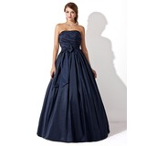 Ball-Gown Strapless Floor-Length Taffeta Prom Dress With Ruffle Bow(s) (018005046)