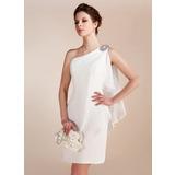 Tubo Um ombro Curto/Mini Tecido de seda Vestido de noiva com Beading Babados em cascata (002011748)