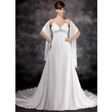 С завышенной талией V-образный Церковный шлейф шифон Свадебные Платье с Рябь Бисер блестками (002012125)