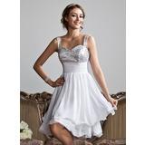 Vestidos princesa/ Formato A Coração Coquetel De chiffon Lantejoulas Vestido de boas vindas com Pregueado (022010318)