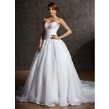 De baile Coração Cauda longa Cetim Organza de Vestido de noiva com Renda Bordado (002011600)
