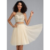 A-Line Scoop Neck Short/Mini Tulle Homecoming Dress With Beading Sequins (022202419)