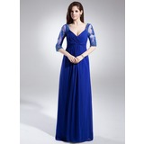 Vestidos princesa/ Formato A Decote V Longos De chiffon Vestido para a mãe da noiva com Pregueado Renda Bordado (008006046)
