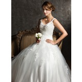 Ball-Gown V-neck Sweep Train Tulle Wedding Dress With Ruffle Beading Appliques Lace Sequins (002008170)