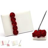 Luxo Vermelho Negrito Rosa Forrado Rosa Livro de visitas & conjunto de canetas (101018143)