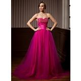 Vestidos princesa/ Formato A Coração Cauda de sereia Tule Vestido quinceanera com Pregueado Bordado (021020620)