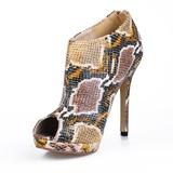 Mulheres Couro Salto agulha Peep toe Bota no tornozelo com Animal da Cópia sapatos (088016951)