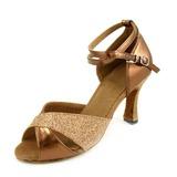 Mulheres Couro Espumante Glitter Saltos Sandálias Latino Sapatos de dança (053007248)