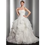 Платье для Балла В виде сердца Церемониальный шлейф Органза Свадебные Платье с Ниспадающие оборки (002014515)
