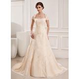Vestidos princesa/ Formato A Decote quadrado Cauda de sereia De chiffon Vestido de noiva com Bordados Bordado (002019535)