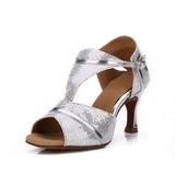 Женщины Мерцающая отделка На каблуках Сандалии Латино с пряжка Обувь для танцев (053052420)