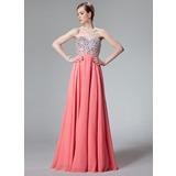 Vestidos princesa/ Formato A Coração Longos De chiffon Vestido de baile com Bordado Lantejoulas (018012850)