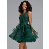 Ball-Gown/Princess Scoop Neck Short/Mini Tulle Cocktail Dress With Sequins (016216028)