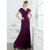 A-Line/Princess V-neck Floor-Length Chiffon Holiday Dress With Ruffle Beading (020032263)