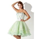 Vestidos princesa/ Formato A Sem Alças Coquetel Organza de Vestido de boas vindas com Bordado (022008138)