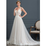 Ball-Gown/Princess V-neck Court Train Tulle Wedding Dress With Beading Sequins (002171931)