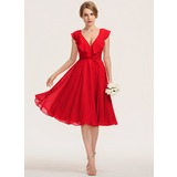 A-Line V-neck Knee-Length Chiffon Homecoming Dress With Bow(s) Cascading Ruffles (022211635)