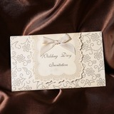Klassieke Stijl Tri-Fold Invitation Cards met Linten (Set van 50) (114032380)